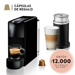 Nespresso - Cafetera Essenza Mini C30 Negra y Espumador de Leche