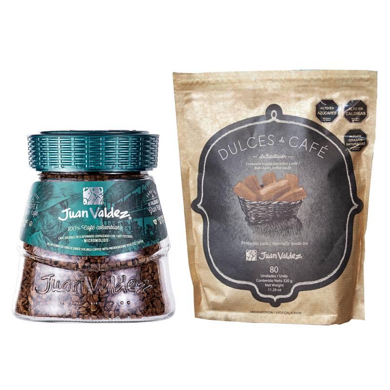 Juan Valdez - Kit Soluble Liofilizado Descafeinado y Dulces de Café 80 unidades