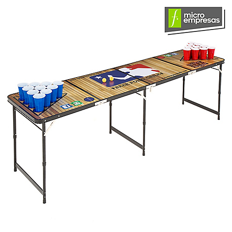 Beer pong chile mesa beer pong woodenpong for Mesa plegable falabella