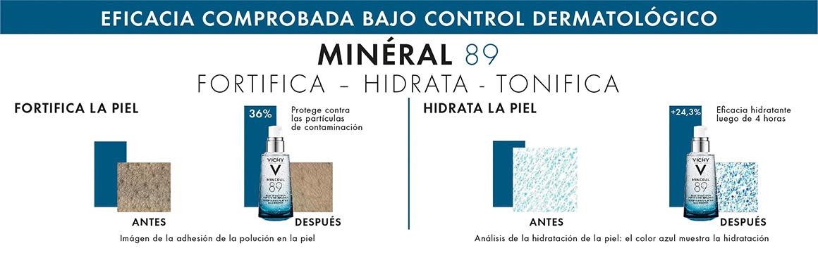 Hidratación, hidratante, fortificar la piel, mineral 89, agua de vichy, vichy, ácido hialurónico, agua termal