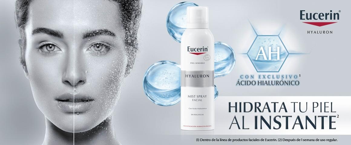 spray facial, agua termal, ácido hialurónico, Eucerin