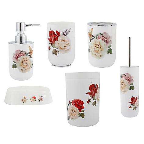 Set de 6 accesorios de ba os dise o rosas - Accesorios de bano de diseno ...