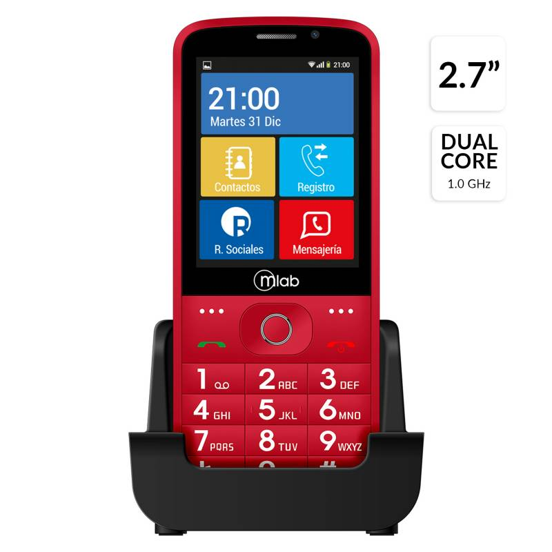 Mlab - Celular Senior Smart SOS Phone Rojo