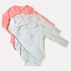 Yamp - Pack de 3 bodies algodón bebé niña