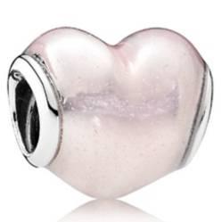 Charm en Plata Corazón Brillante Esmalte Rosa Pálido con Brillo