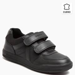 GEOX - Zapatilla Escolar Unisex Cuero Negra