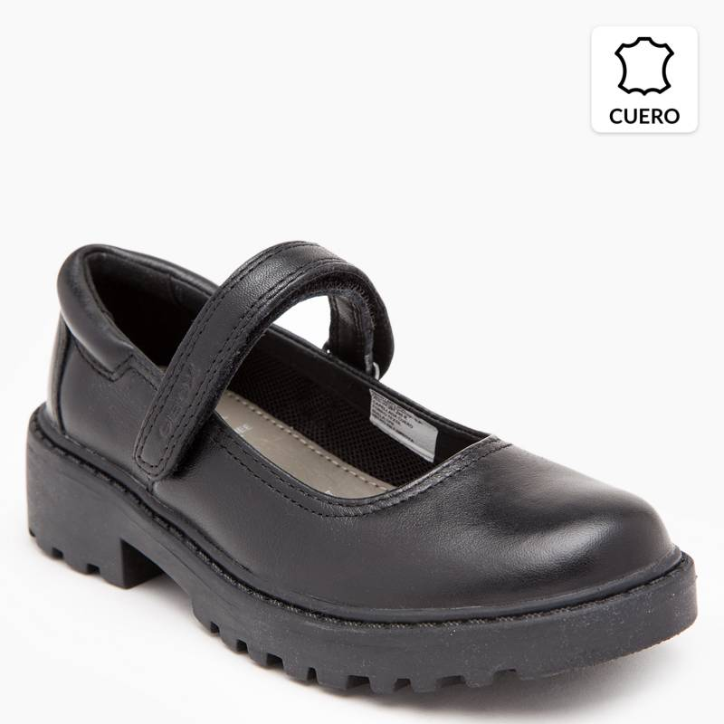 Geox - Zapato Escolar Niña Cuero Negro