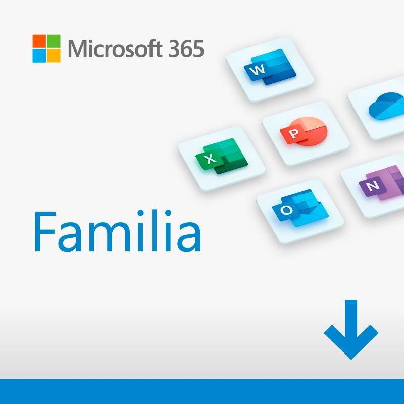 Microsoft - Microsoft 365 Familia (Hasta 6 Personas, Suscripción 12 Meses, Software Descargable. Word, Excel, Power Point, Outlook, Onedrive, Seguridad) Nuevo Office