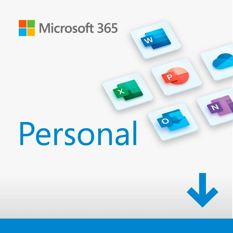 Microsoft - Microsoft 365 Personal (1 Persona, Suscripción 12 Meses, Software Descargable. Word, Excel, Power Point, Outlook, Onedrive, Seguridad)