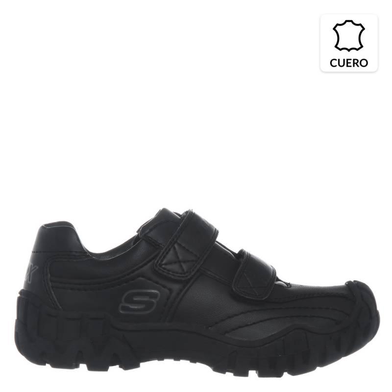 Skechers - Zapatilla Escolar Cuero Negra