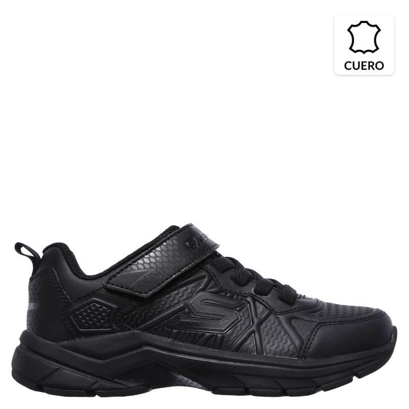 Skechers - Zapatilla Escolar Deportiva Cuero Negra