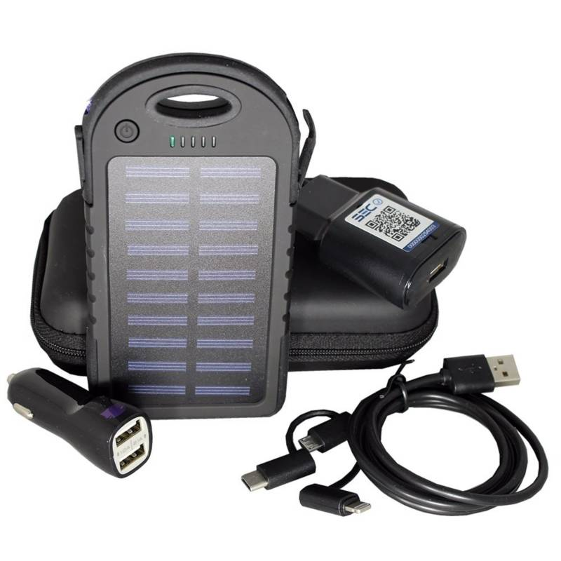 Set de Cargadores + Power Bank Solar de 10000 Mah