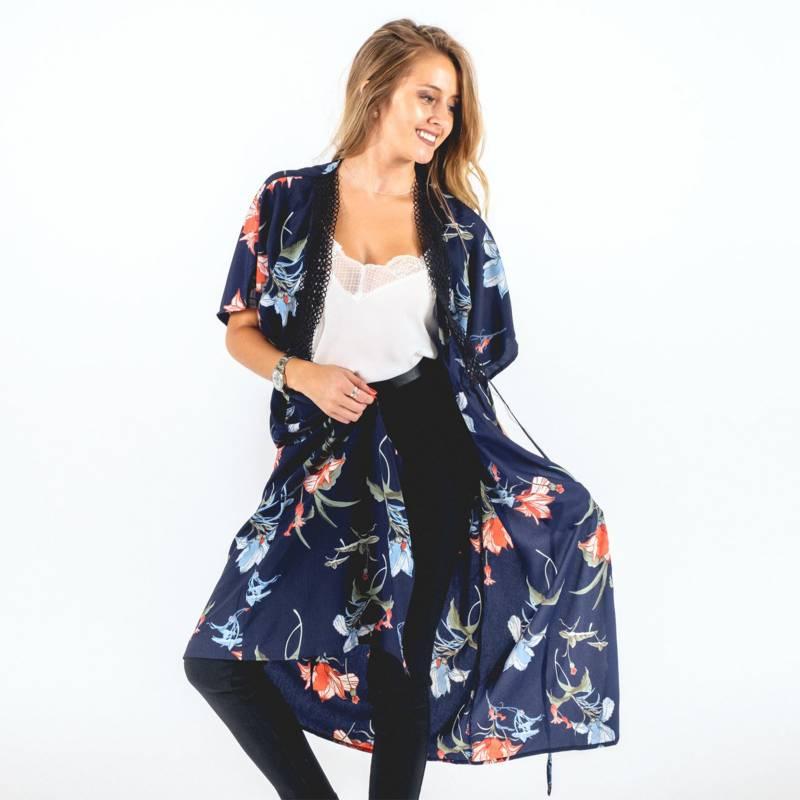 GUINDA - Kimono Floreado
