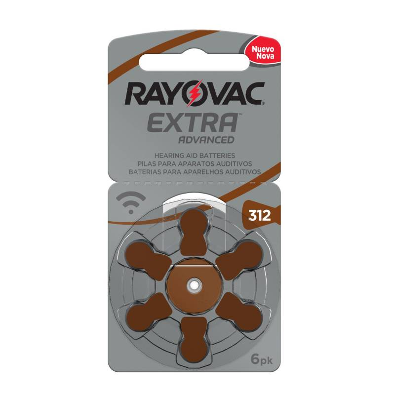 Rayovac - Pilas auditivas Tipo 312 Pack 10 (60 pilas)