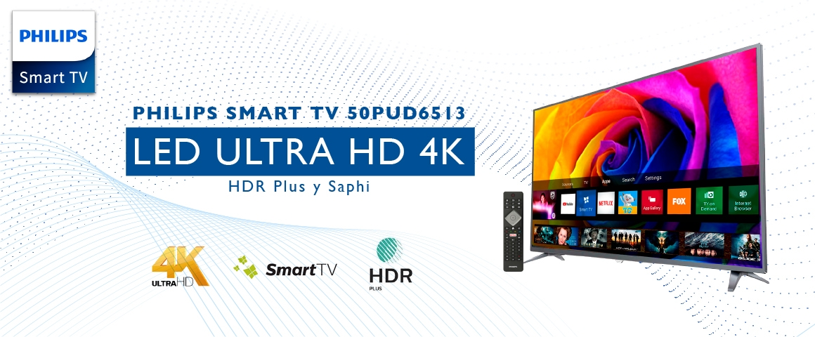 LED 50 pulgadas UHD 4K Smart tv Philips 50PUD6513