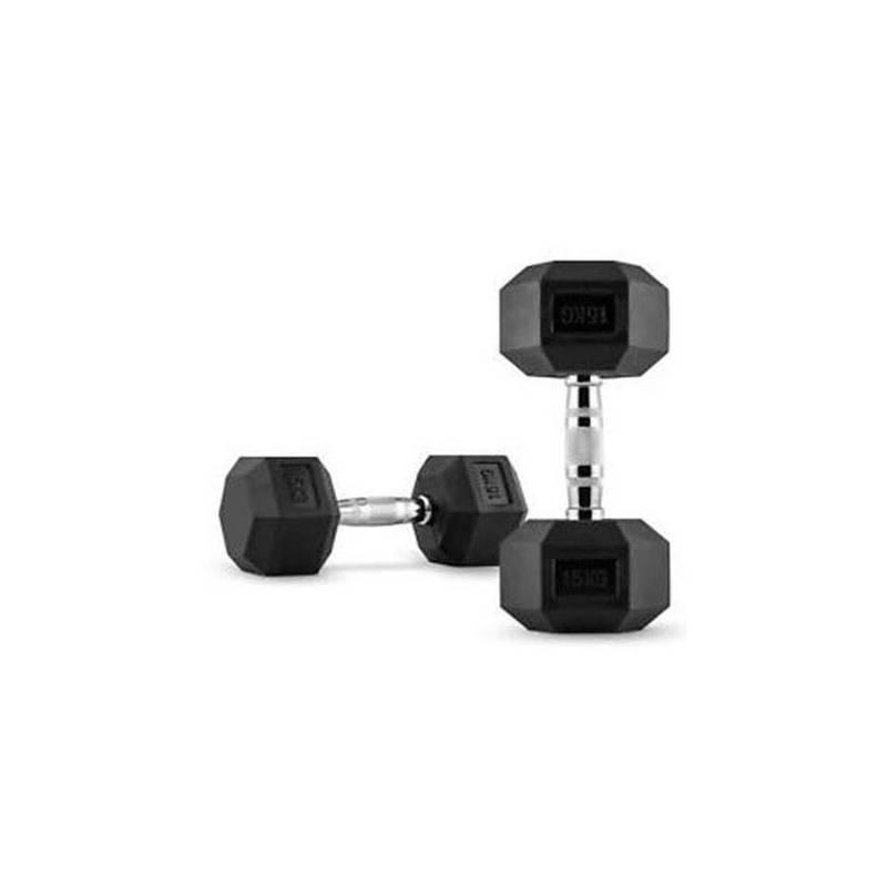 Fitness Mancuernas Hexagonales de Caucho Par 15 Kg