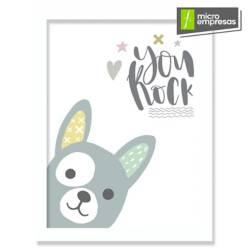 Cuadro Infantil Nórdico Perro You Rock 20 x 30 cm