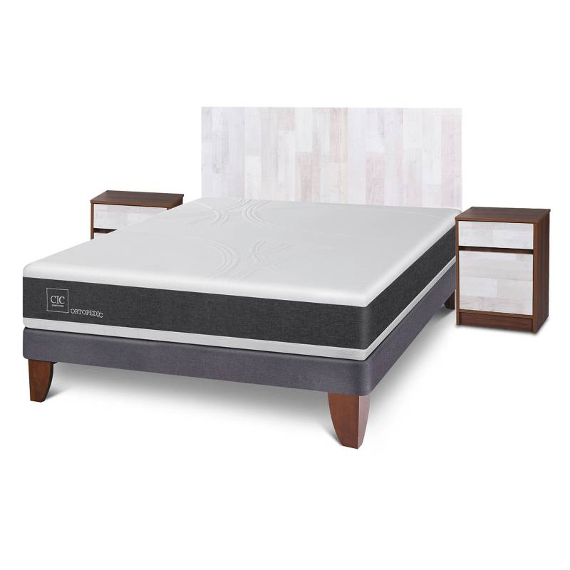 Cic - Cama Europea Ortopedic 2 Plazas BN 150x200cm CIC + muebles Legno