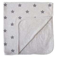 MINENE - Manta Gris Estrellas Gris/ Reverso Puntos 80 x 80 cm