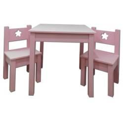 MUEBLES KIDS - Mesa con 2 Sillas Madera Lacada con Diseño Rosada
