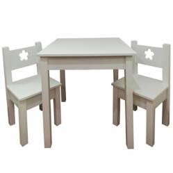 MUEBLES KIDS - Mesa con 2 Sillas Lacada con Diseño Blanca Flor