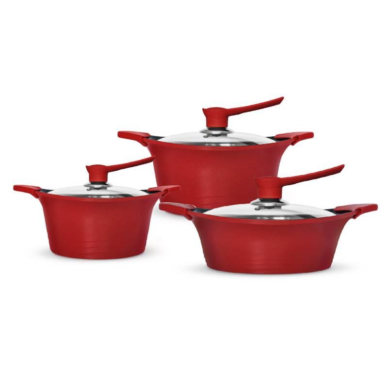Bohlier - Baterías de cocina antiadherente Roja 6 Pzas