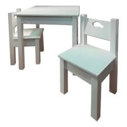 MUEBLES KIDS - Mesa con 2 Sillas Madera Lacada con Diseño Flor