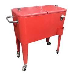 Cooler Retro Metálico Rojo con Manilla y Ruedas 60