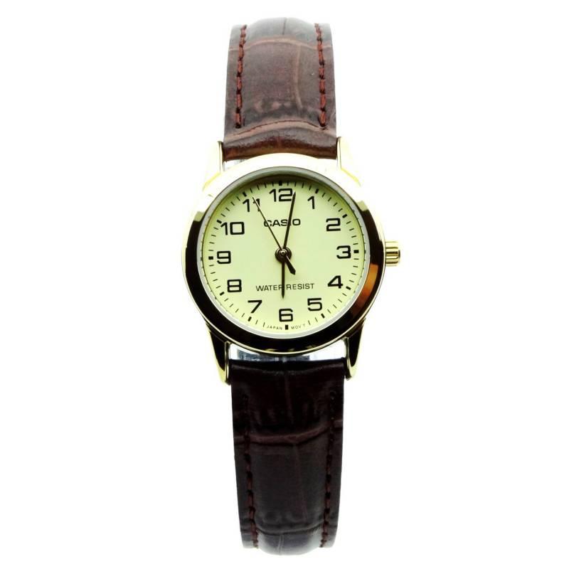 Casio - Reloj Mujer Cuero LTP-V001GL-9B