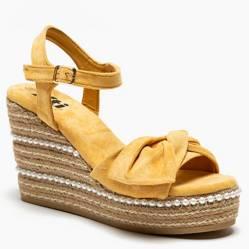 Sandalia Mujer Cuero Amarillo