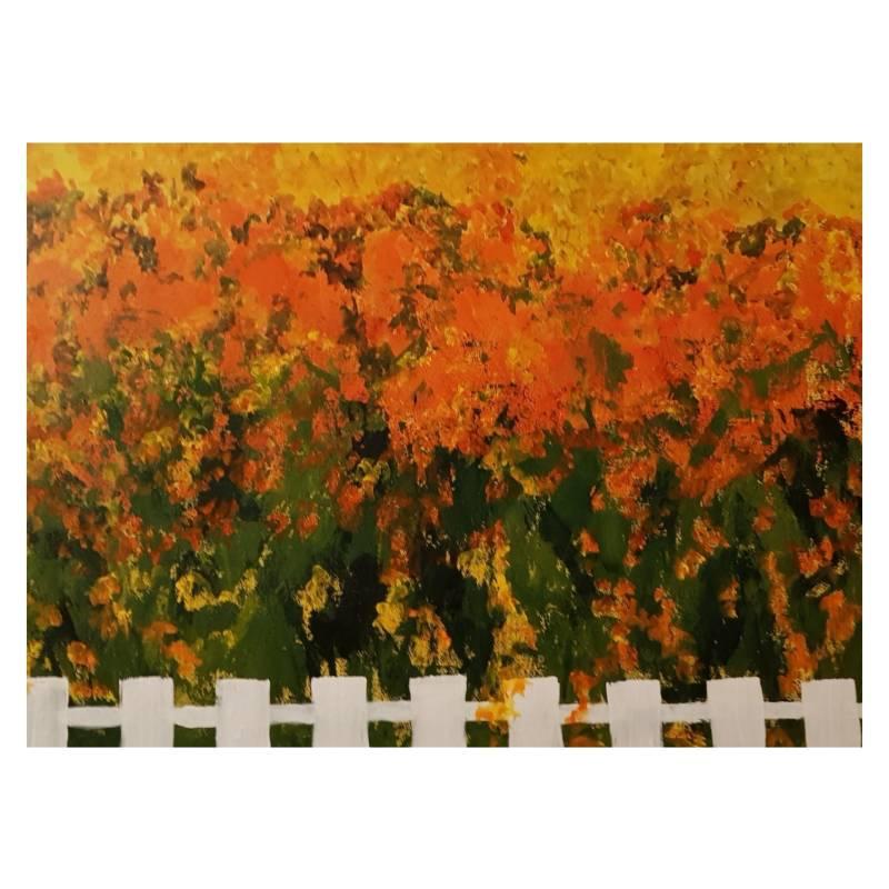 ARTE ONLINE - Cuadro Flores En Naranjo