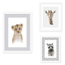 Set Collage 3 Cuadros Infantiles Animal Heads