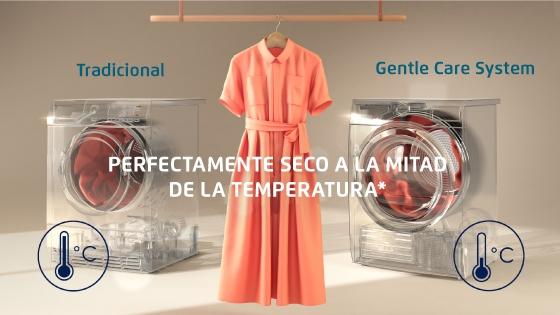La Fensa perfect care Europe 8D seca tu ropa a casi a  la mitad de la temperatura, cuidando su textura por más tiempo y con un  menor consumo de energía.