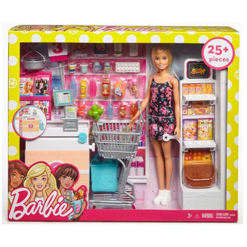 BARBIE - Muñeca Barbie Set De Supermercado