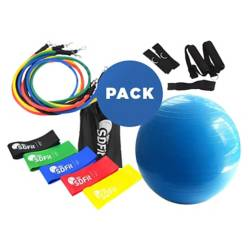 SDFIT - Pelota Pilates 65 Cm + Pack Loops + Kit 11 Piezas