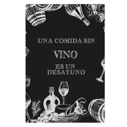 """Mercado On - Cuadro de Madera 40 x 60 cm """"Una Comida Sin Vino"""""""