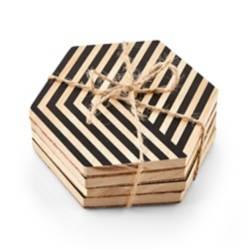 CRATE & BARREL - Set de 4 Posavasos Hexagonales Pint