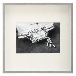 CRATE & BARREL - Marco Plateado Cepillado 5x7