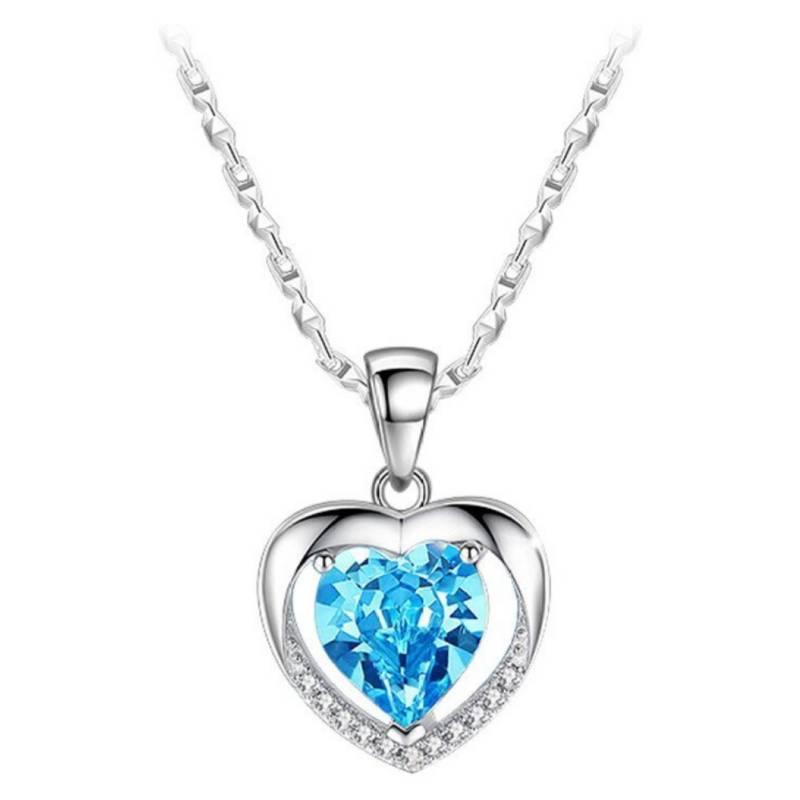 TODOJOYAS - Collar Corazón Circon Azul Baño Plata 925