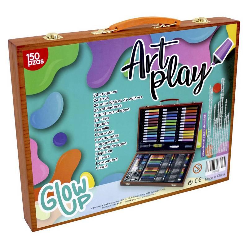 GLOWUP - Maleta de lápices y arte madera 150 Piezas