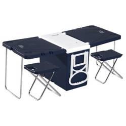 Cooler 28Lts plegable Gris Camping  mesa y pisos