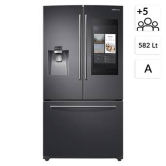 SAMSUNG<BR>SIDE BY SIDE FRENCH DOOR 582 LT CON FAMILY HUB RF265BEAESG/ZS