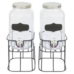 HOMEESSENTIALS - Set 2 Dispensadores de Vidrio para Bebidas 3700ml 37cm