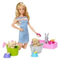 BARBIE - Muñeca Barbie Familia Baño De Perritos