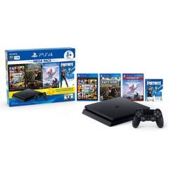 Sony - Consola PS4 Slim 1TB Mega Pack 6 (3 juegos + Cupón Fornite + 3 meses PS Plus)