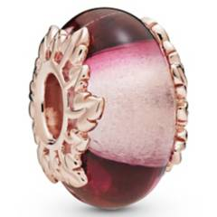 PANDORA - Charm De Cristal Murano Rosa y Hoja