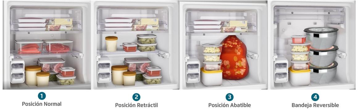 Bandejas adaptables en freezer con el refrigerador Fensa DW44S