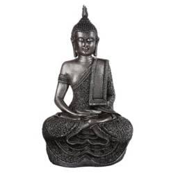 Figura Buda resina 34 cm plateado