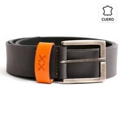 BESTIAS - Cinturon Cuero Hombre Gris Trb Naranja