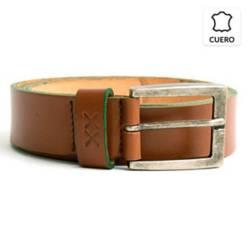 BESTIAS - Cinturon Cuero Hombre Cafe Bor Verde